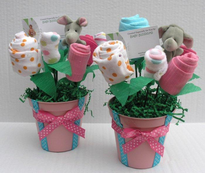 Baby shower vases - with socks