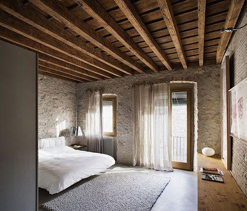 Barn Feng Shui Bedroom With Wood Beams On The Ceiling