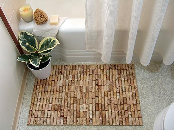 Bathroom cork mat - made of caps