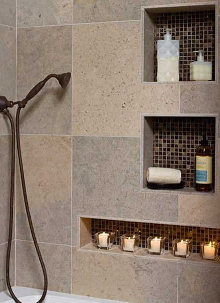 Bathroom with niche for candles - with modern interior design
