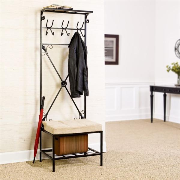 Bench and coat rack - placed in the house entryway