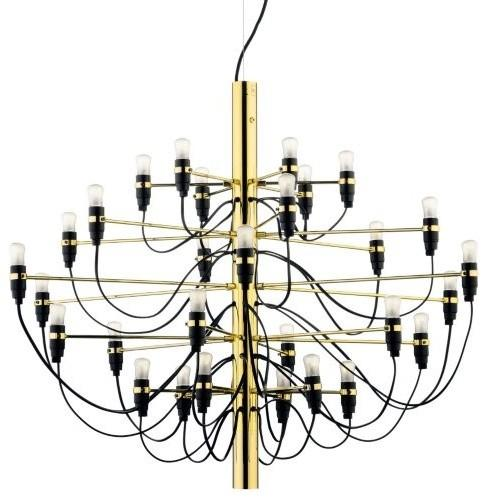 Black and gold chandelier - with small light bulbs