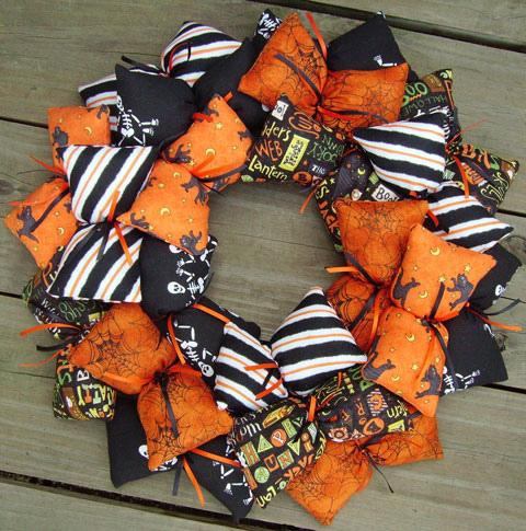 Black and orange Halloween wreath - made of soft small objects