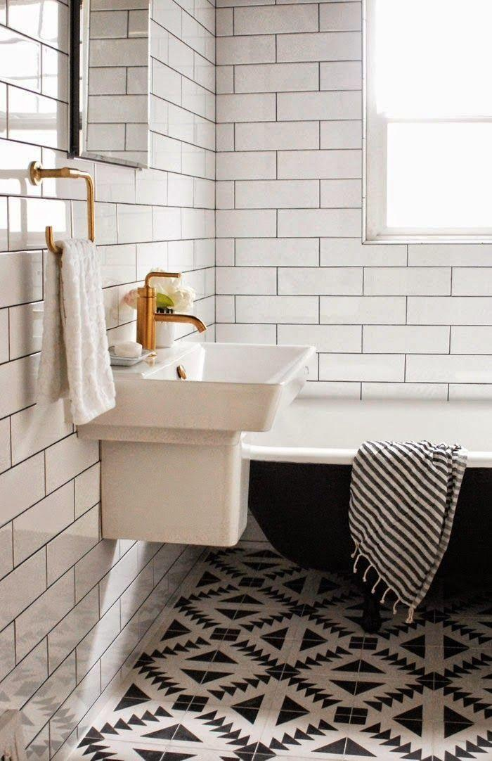 Black and white bathroom - with graphic mosaic floor