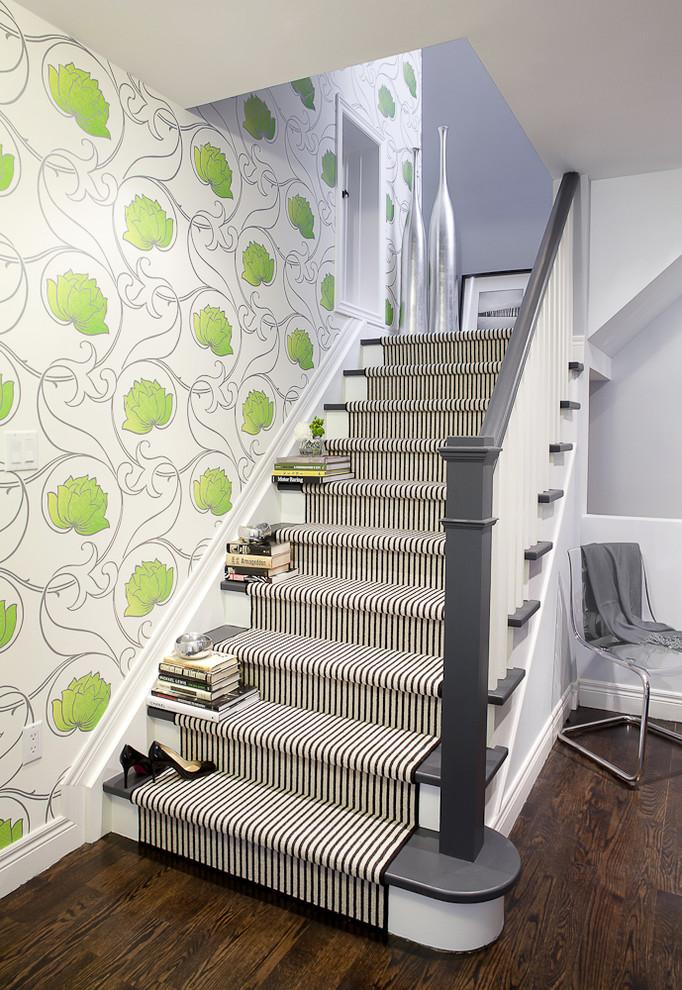 Black and white stair runners - in narrown striped pattern