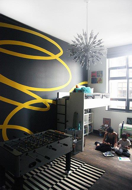 Black and yellow paint - for a modern kids room