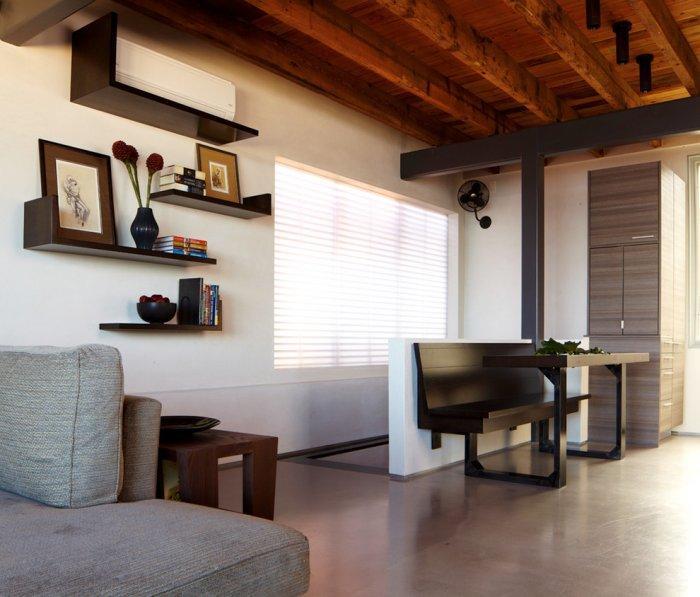 Black floating shelves - in the living room