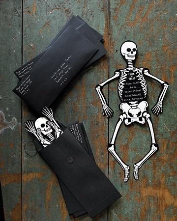 Black skeleton Halloween invitation - placed in black cover