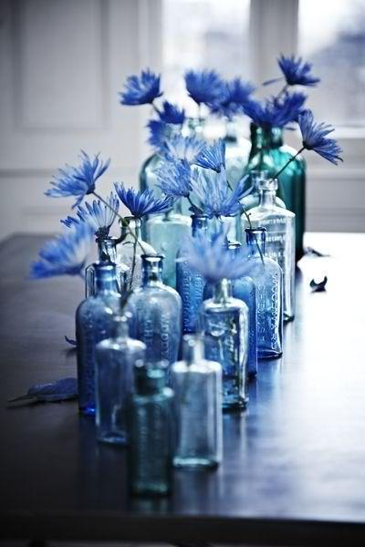 Blue vases - with blue flowers in them