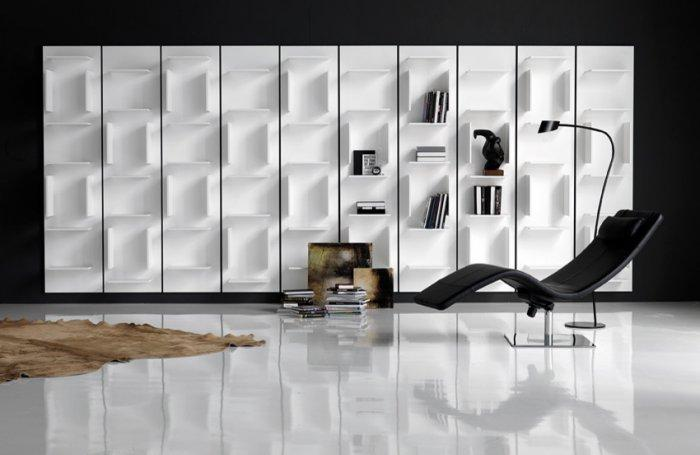 Bookcase with concept design - in white color and minimalist look