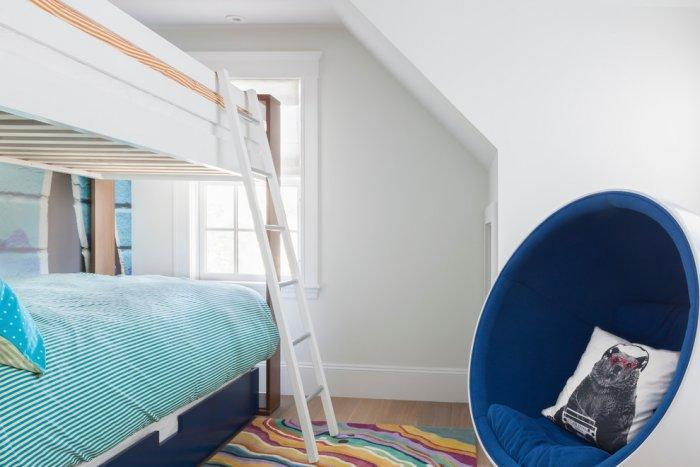 Boy bedroom - with bunk bed and bubble chair