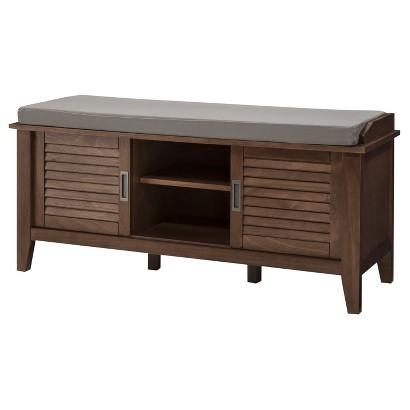 Brown entryway bench - with soft sitting surface