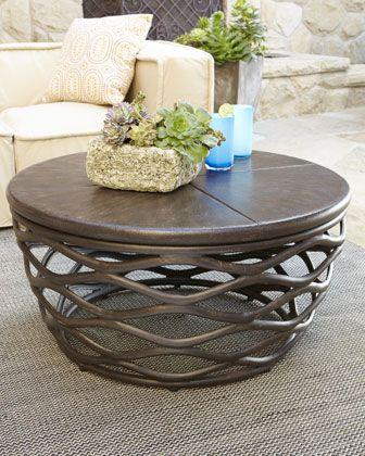 Brown Round Coffee Table   With Creative Design And Interesting Base