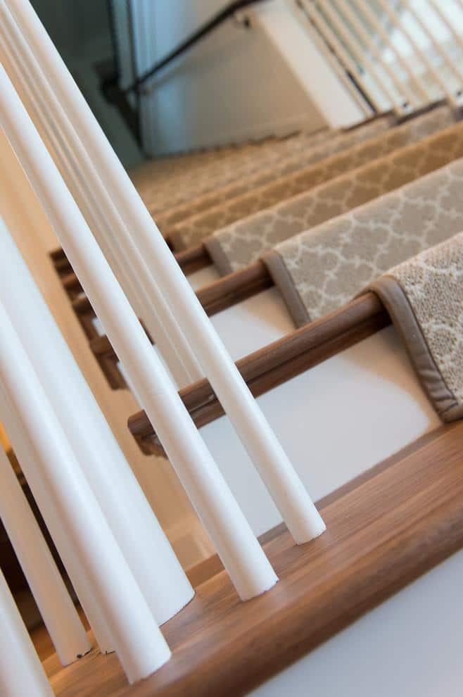 Brown stair runners - in traditional American home