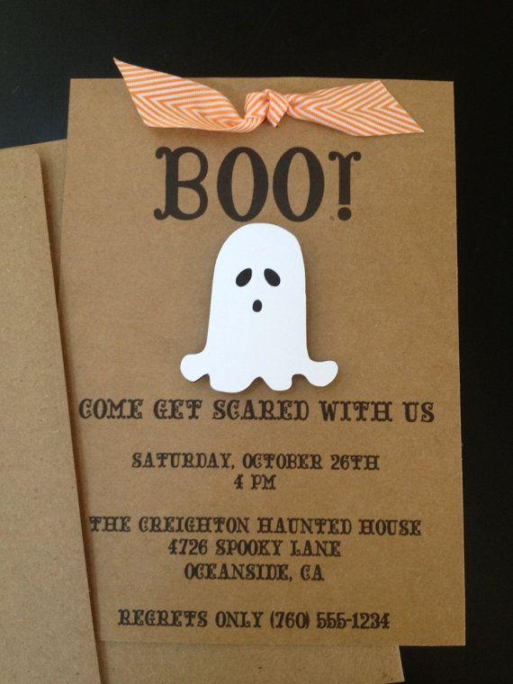 Cardboard Halloween invitation - with small decorative white ghost