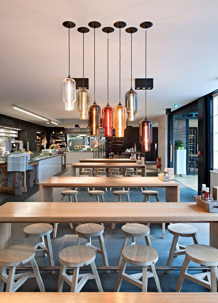 Casual cafe design - with interesting modern pendants