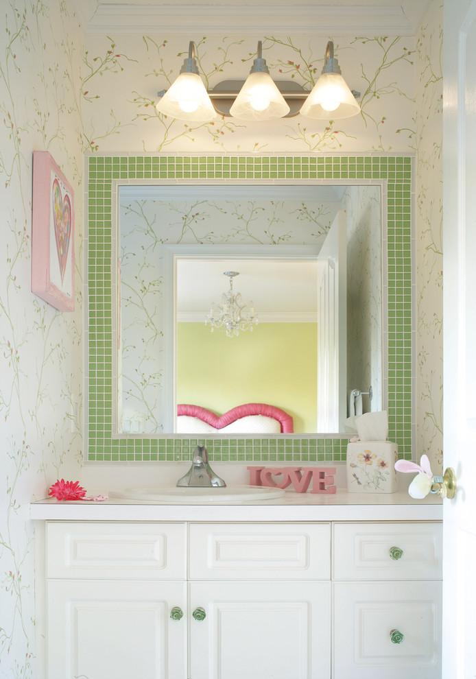 Chic bathroom mirror - with green frame