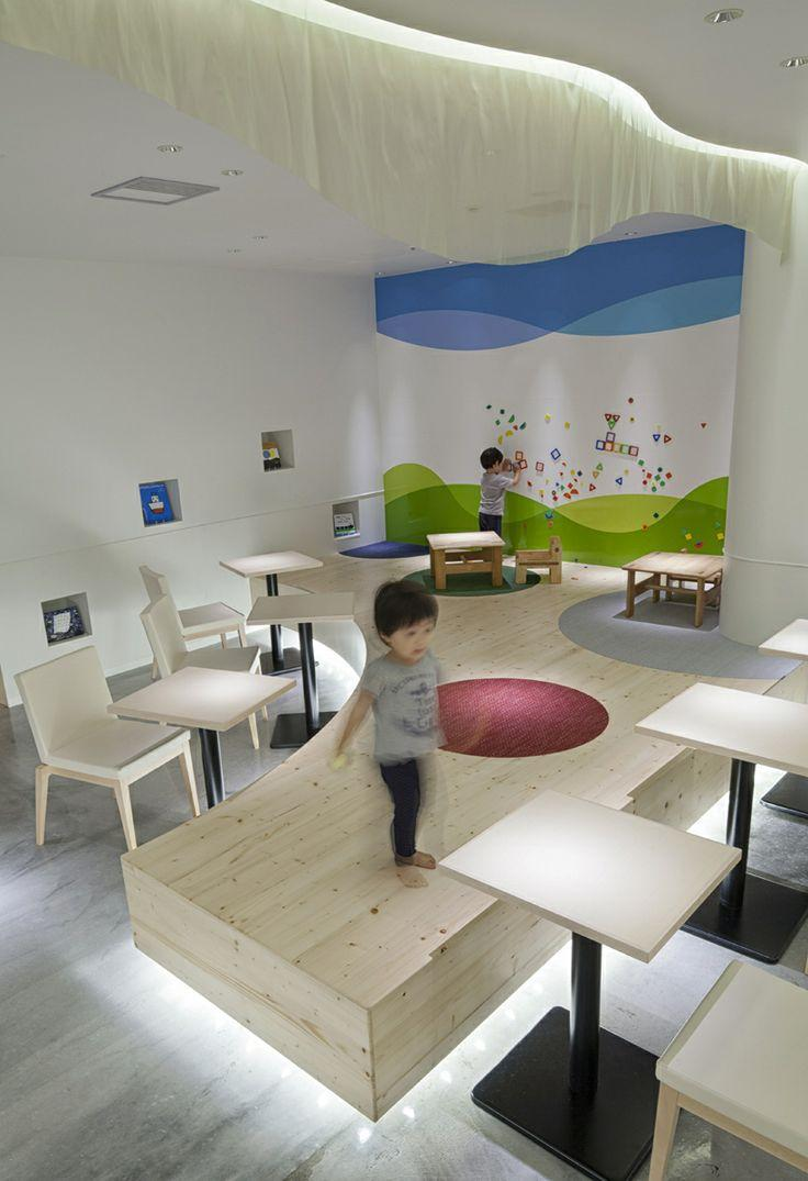 Children stage - in a modern white cafe
