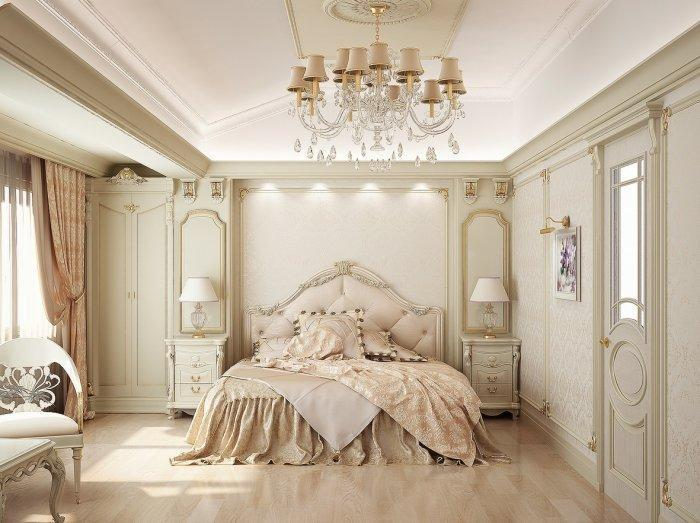 Classic luxurious bedroom - with crystal chandelier