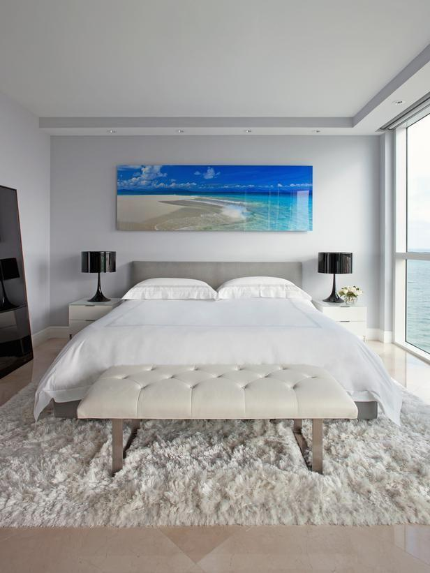 Coastal feng shui bedroom - with beautiful ocean picture above the bed