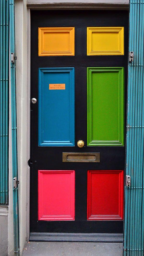 Colorful British entry door - for a small house entrance