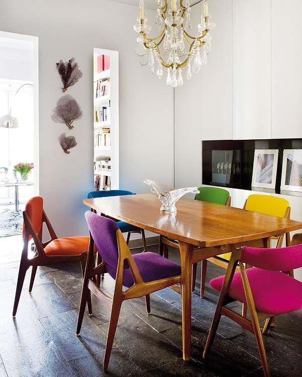 Colorful dining room - with wood table and crystal chandelier