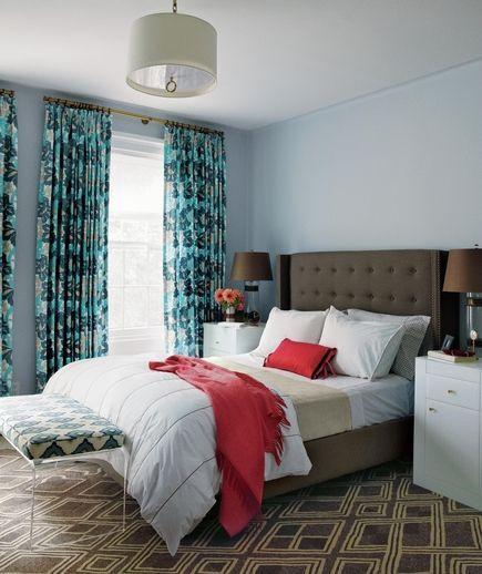 Colorful feng shui bedroom - with green and red accents