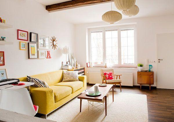 Colorful living room - with red and yellow accents