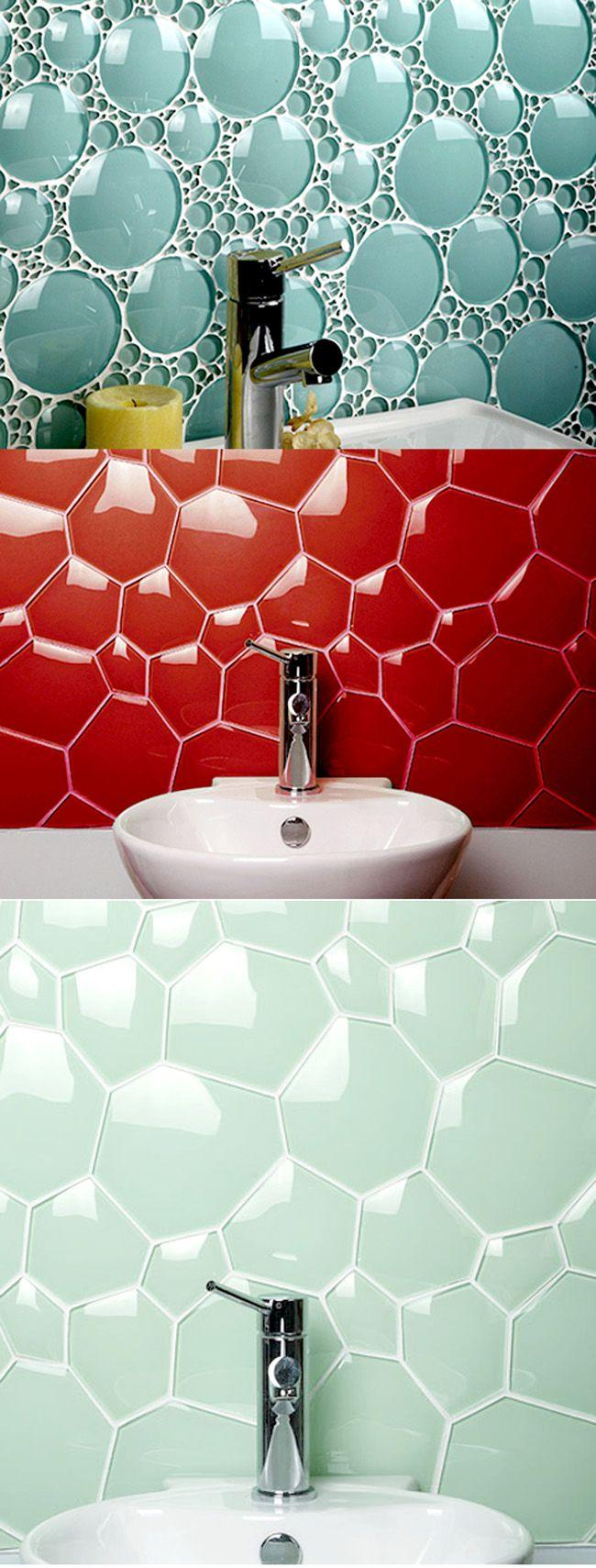Colorful mosaic designs - above the bathroom sink