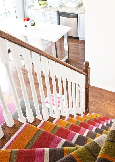 Colorful stair runners - in striped pattern