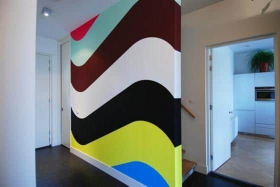 Colorful wall - in a modern apartment