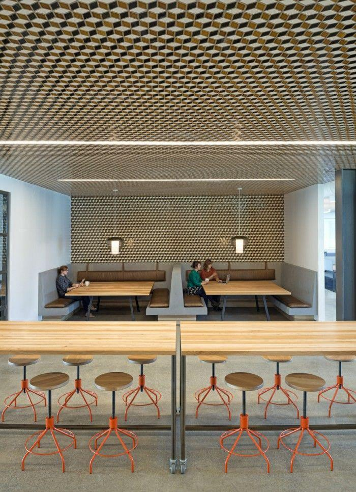 Contemporary cafe interior - with graphic shapes on the walls and ceiling