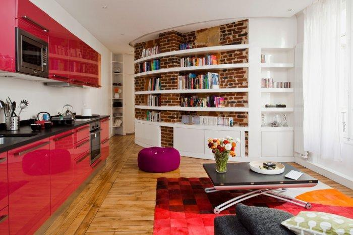 Contemporary small apartmen - with kitchen, dining and livign room at one place