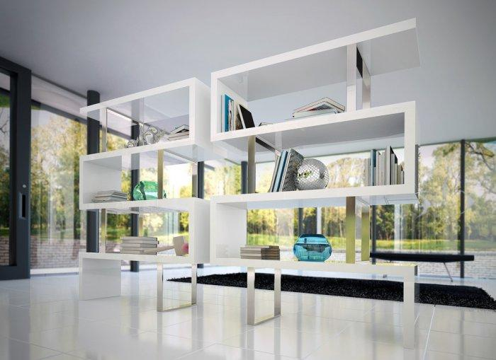 Contemporary white bookcase - with interesting shapes