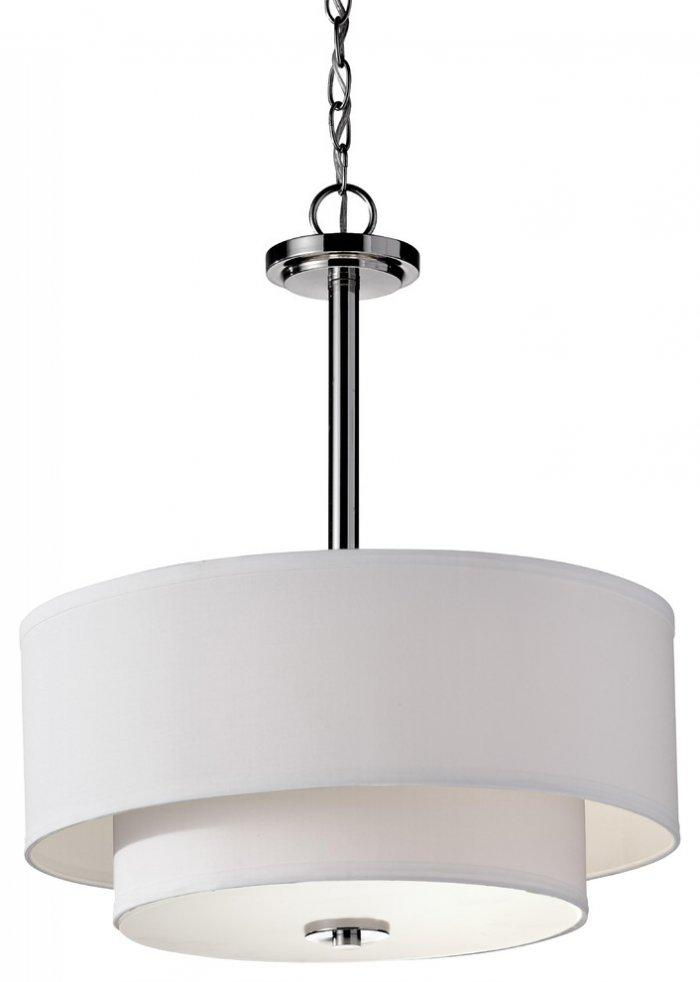 Contemporary white chandelier - with interesting round shades