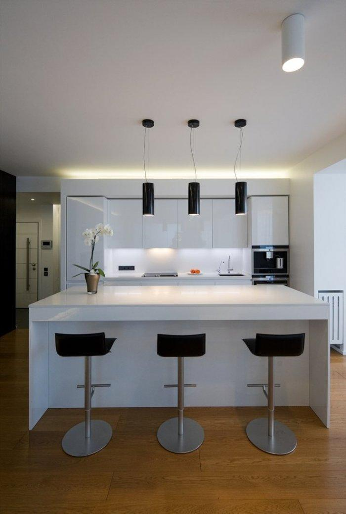 Kitchen Interior Design Ideas for Your Home Founterior : Contemporary white kitchen with black bar stools and white island from founterior.com size 700 x 1039 jpeg 63kB