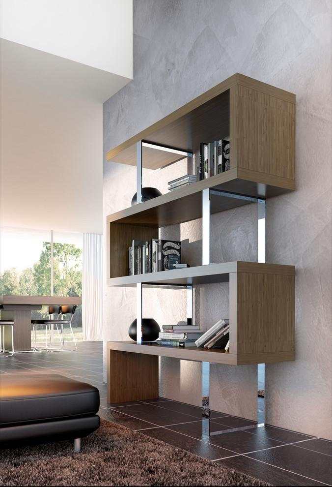 Contemporary wood bookcase - with curved design and stright lines