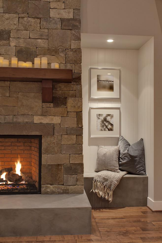 Cozy corner - with fireplace with stone cladding