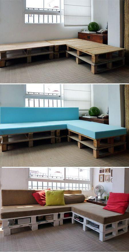 Creating a pallet sofa - follow the three steps