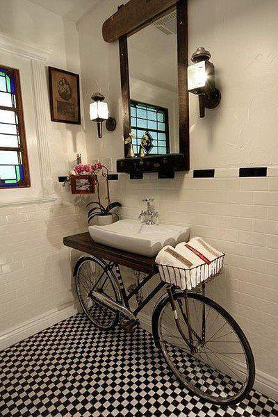 Creative bathroom shelf - made of a bicycle
