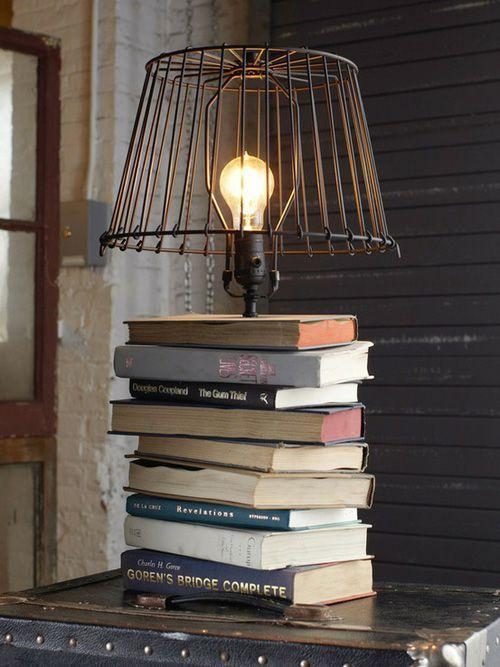 Creative bedside lamp - made of piled books