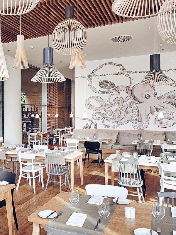 creative cafe wall design un urban octopus painting - Cafe Interior Design Ideas