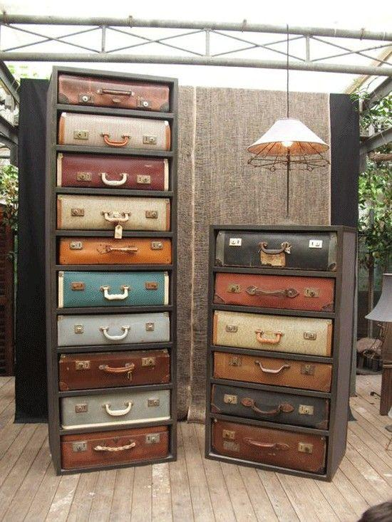 Creative chest of drawers - made of vintage suitcases