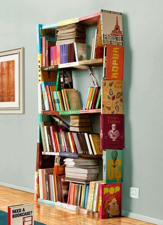 Creative colorful bookshelves - made of books