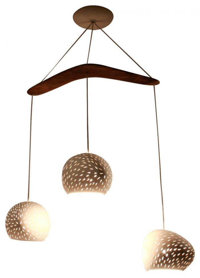 Creative contemporary chandelier - with wood accents