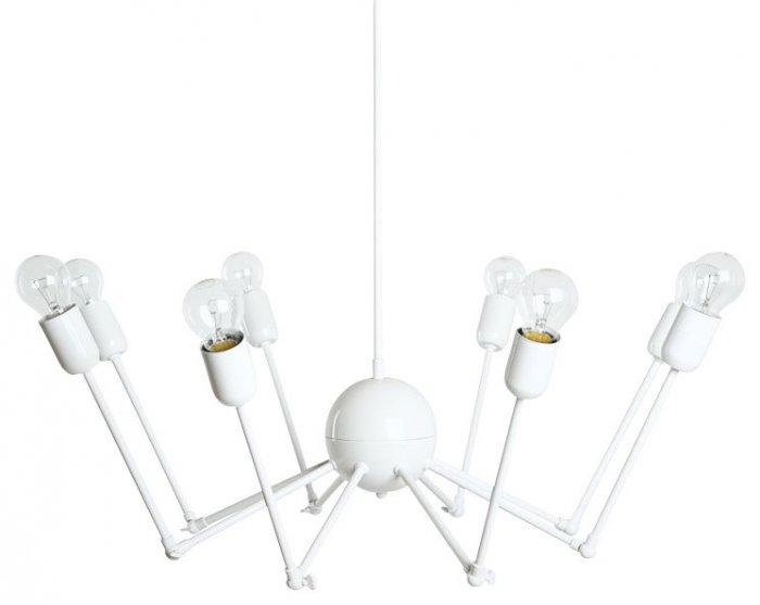 Creative contemporary white chandelier - with simle light bulbs