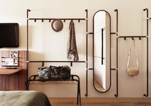 Creative hallway coat racks - and long oval mirror