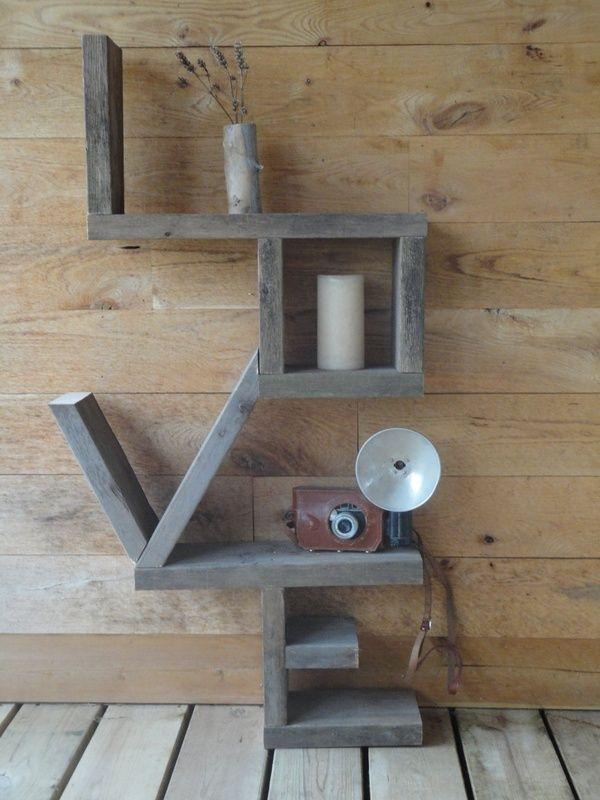 Creative living room shelf - made of wood planes