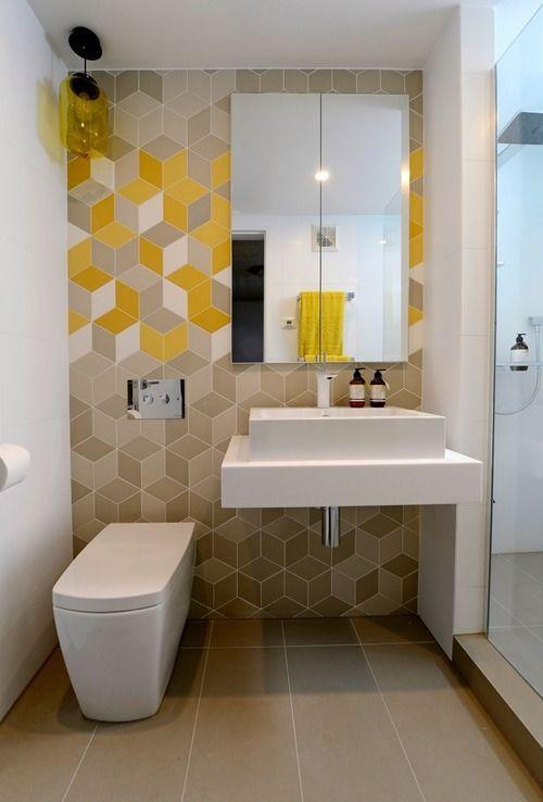 Creative modern bathroom - with graphic wall art