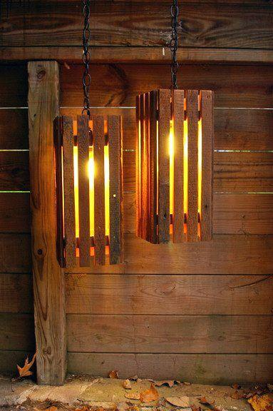Creative pallet pendants - for rustic mountain cabin interior